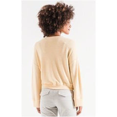 Z Supply The Sweater Knit Notch Front in Yellow Cream