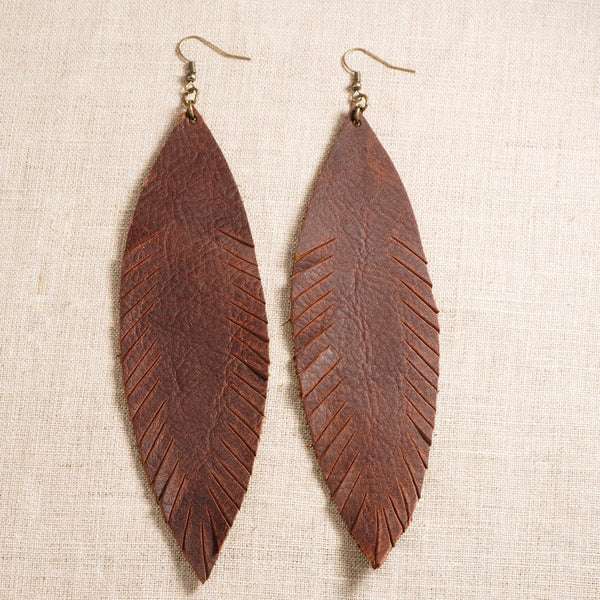 Glory Haus Leather Leaf Earrings