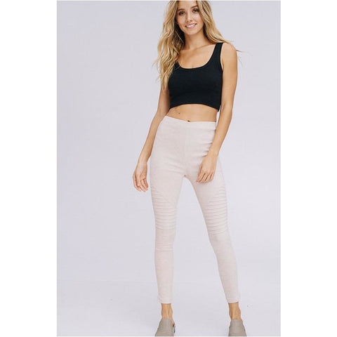 Suede Moto Leggings In Beige