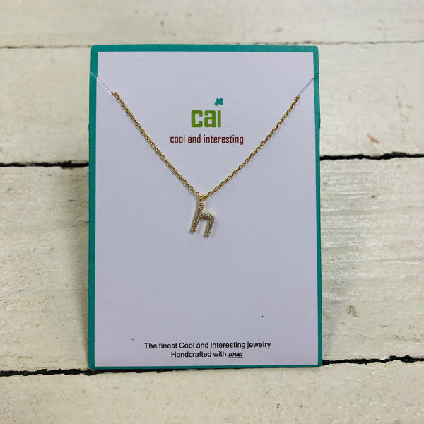 Lower Case Cubic Zirconia Initial Necklace