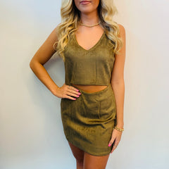 Buddy Love Stevie Fitted Suede Dress- Olive