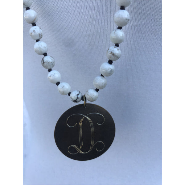 Beaded Magnesite Knotted Initial Necklace