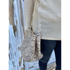 Lily Snakeskin Bucket Purse