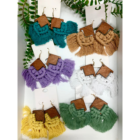 Wood & Crochet Rhombus Earring