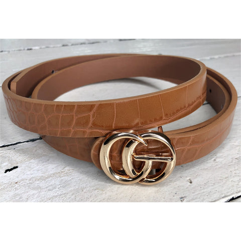 CC Belt in Tan Croc