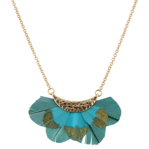 Jane Marie Gold Dipped Feather Bib Necklace