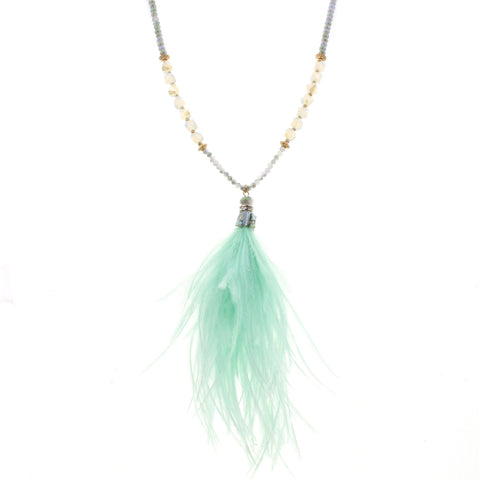 Jane Marie Beaded Feather Necklace