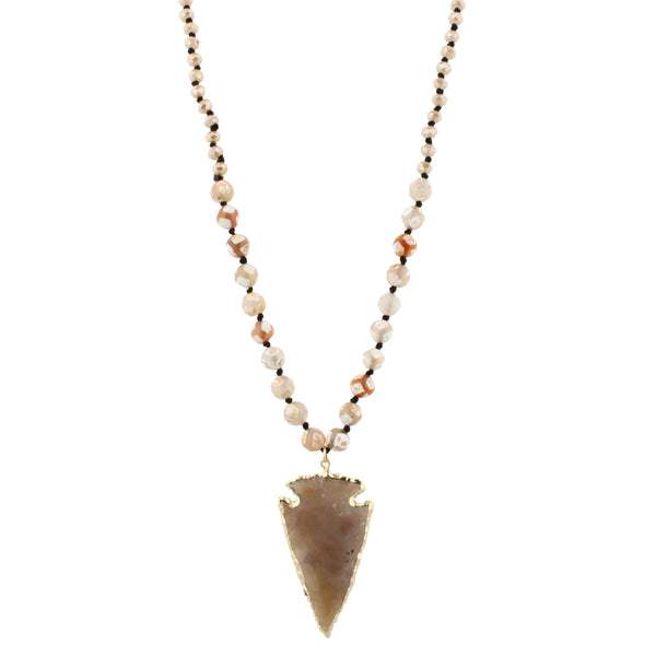 Jane Marie Tibetan Handknotted Arrowhead Necklace