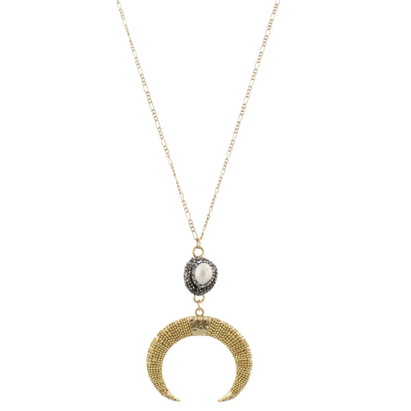 Jane Marie Pearl and Horn Necklace