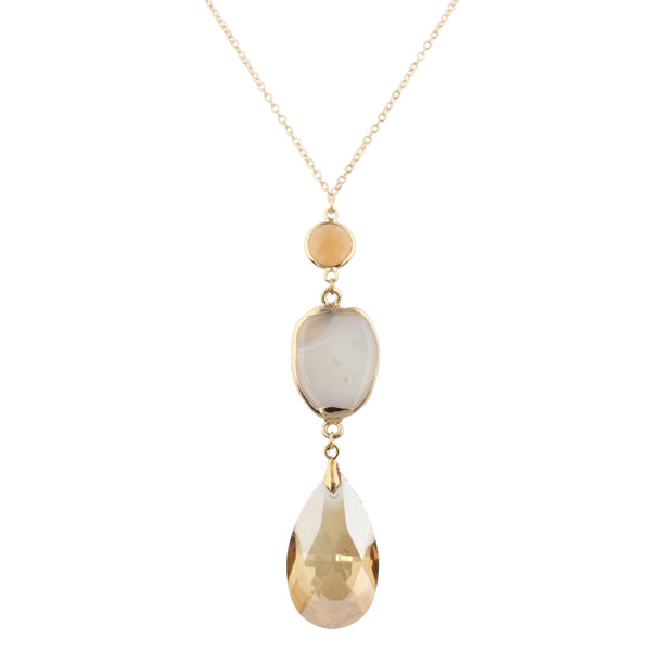 Jane Marie Teardrop Stone Dangle Necklace