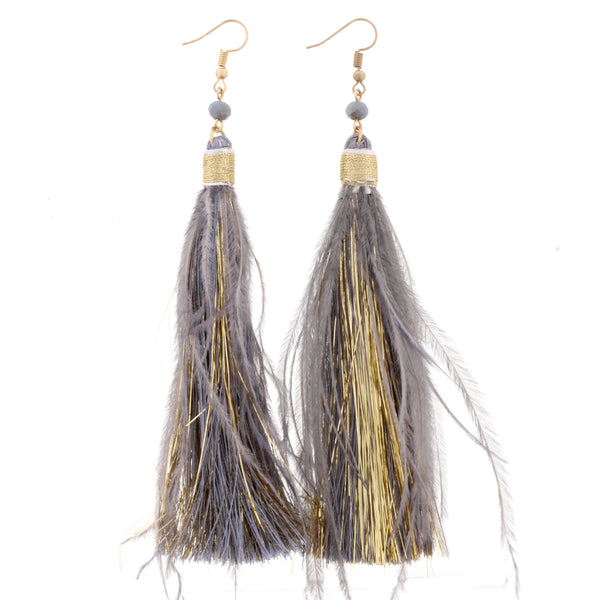 Jane Marie Fringe Tassel Feather Earrings