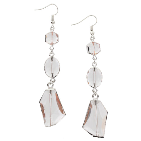 Jane Marie Silver Crystal Dangle Earrings
