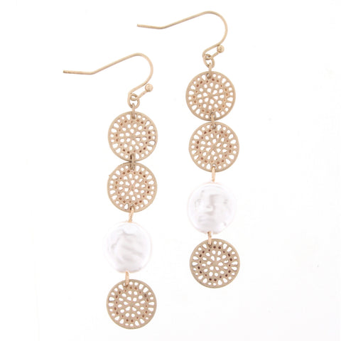 Jane Marie Gold Disk Pearl Earrings