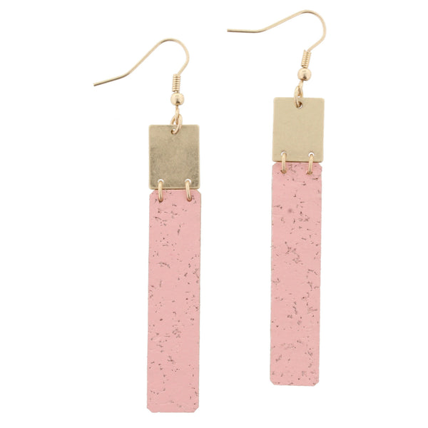 Jane Marie Cork Rectangle Earrings
