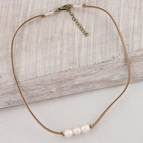 Three Pearl Suede Necklace