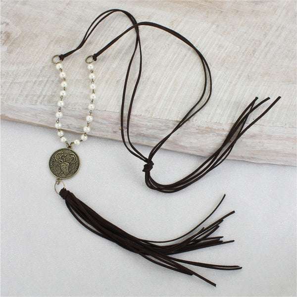 Reindeer Coin & Tassel Necklace