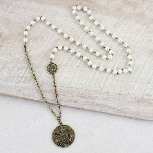 Santa Coin & Pearl Necklace - A Little Bird Boutique