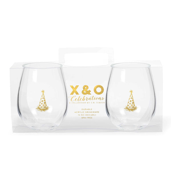 Gold Party Hat Double Stemless Glasses
