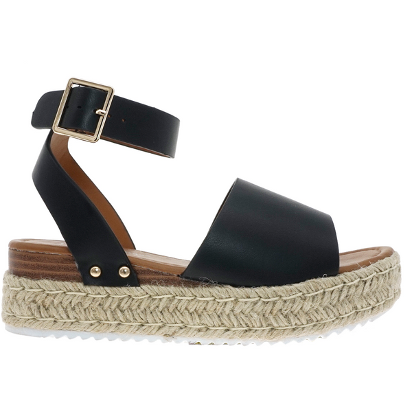 Topic Espadrille Platfrom Sandal in Black