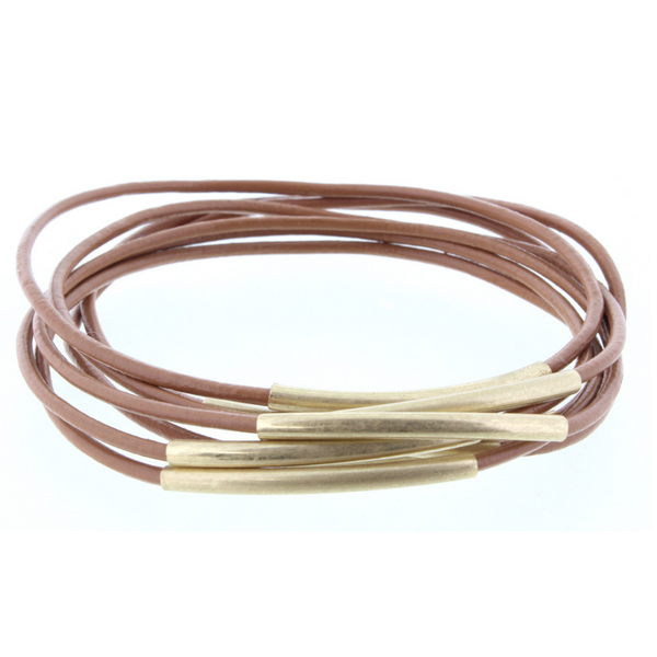 Jane Marie Leather and Gold Bracelet Sets