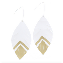 Jane Marie White and Gold Leather Fringe Earrings