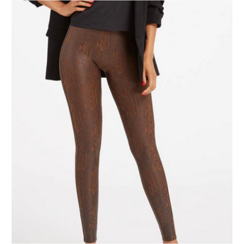 Spanx Faux Leather Brown Snakeskin Leggings