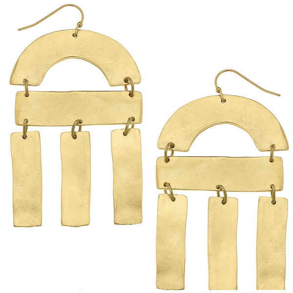Susan Shaw Gold Curve and Multi Bar Earrings