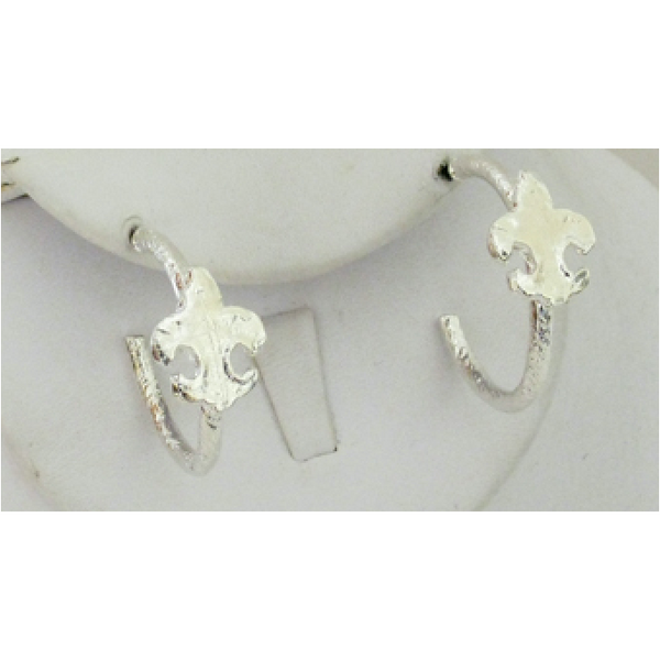 Susan Shaw Silver Fleur de Lis Earrings