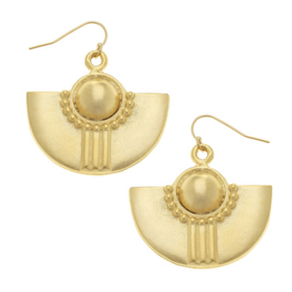 Susan Shaw Gold Deco Earrings