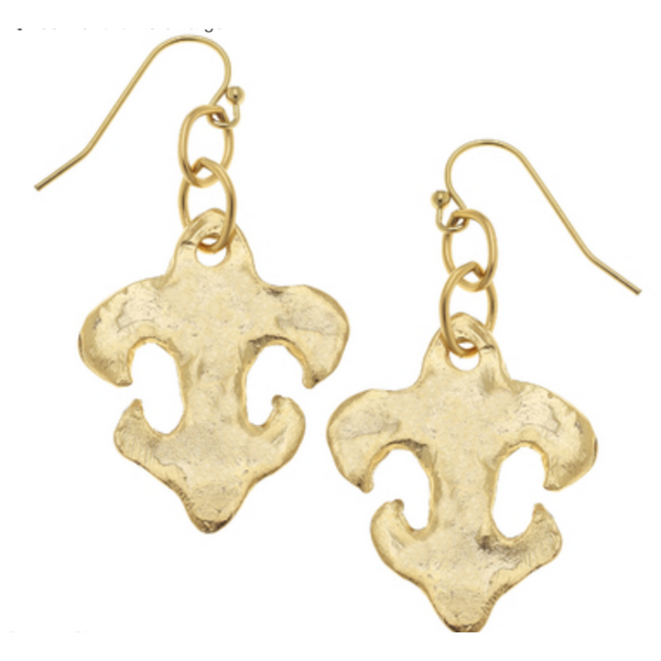 Susan Shaw Gold Fleur de Lis Earrings
