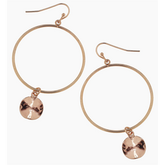 Canvas Rose Gold Disc Drop Earrings