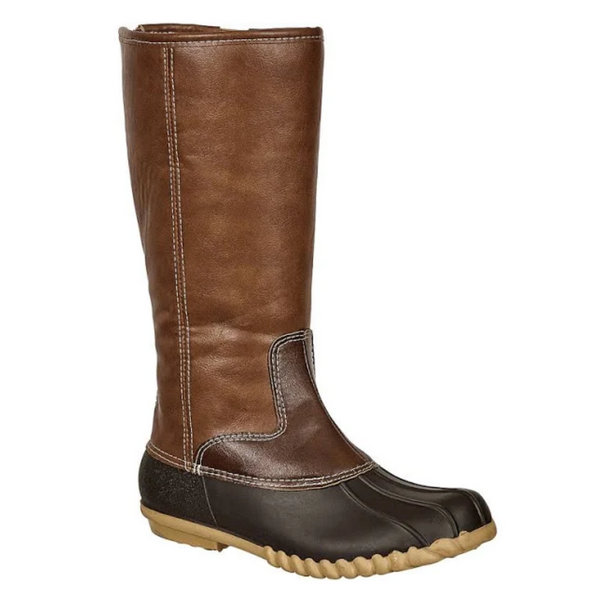 Tall Zip Up Duck Boots in Brown