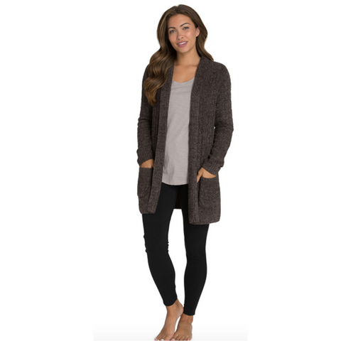 Barefoot Dreams CozyChic Cable Knit Shawl Collar Cardigan