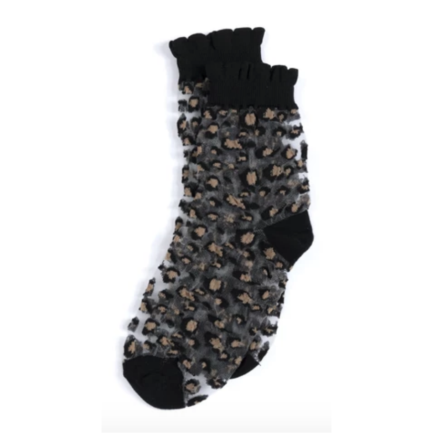 Leopard Fancy Socks in Grey