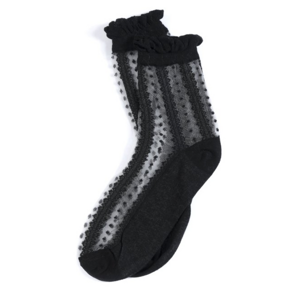 Sheer Pattern Fancy Socks in Black