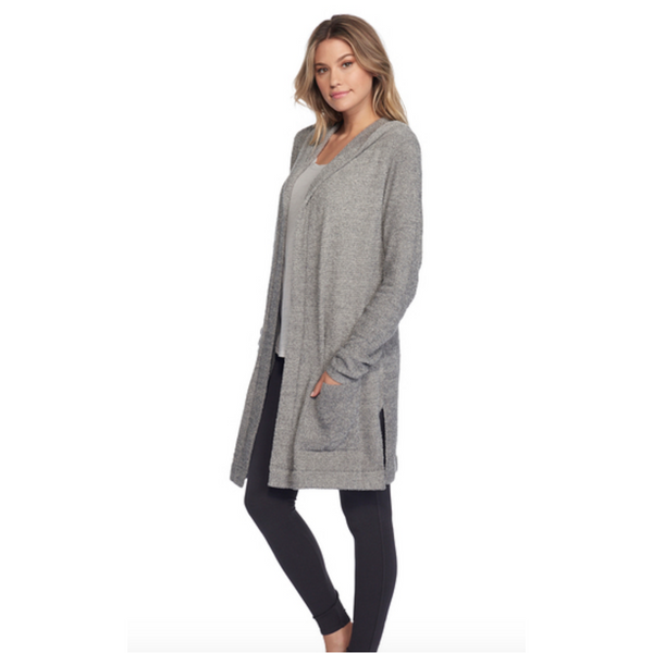 Barefoot Dreams The CozyChic Lite Resort Cardigan in Graphite/Stone