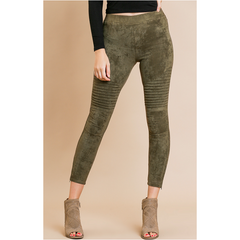 High Waisted Suede Moto Jeggings