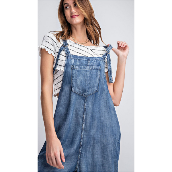 Jodi Chambray Overalls in Dark Denim