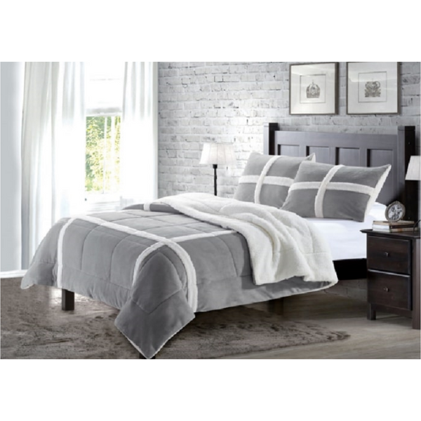 Faux Fur Lux King Size Blanket in Winter Bliss Gray