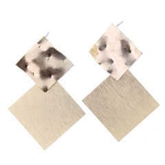 Jane Marie Gold Double Square Earrings