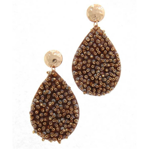 Gold and Brown Beaded Teardrop Earrings
