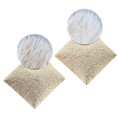 Jane Marie Texture Square and Hide Earrings