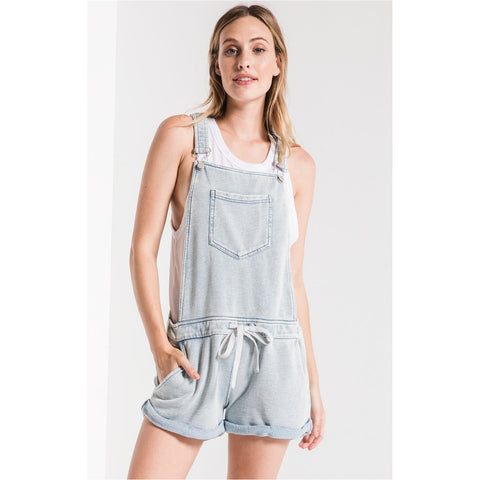 fa4caa13716531 Z Supply The Knit Denim Shortalls In Dusty Blue