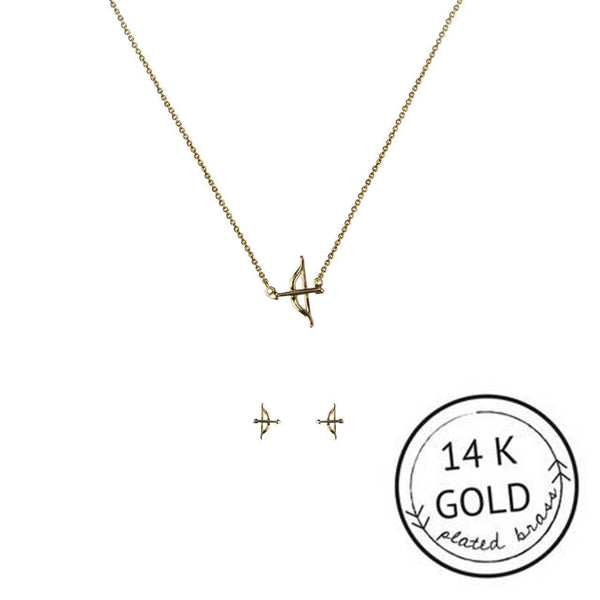 Bow And Arrow Necklace Set