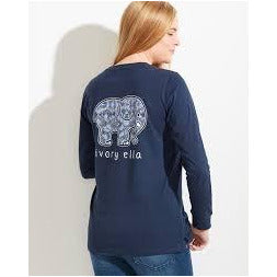 Ivory Ella Long Sleeve Squiggles T-Shirt in Navy