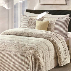 FAUX FUR LUX KING SIZE BLANKET IN INTRICATE OYSTER