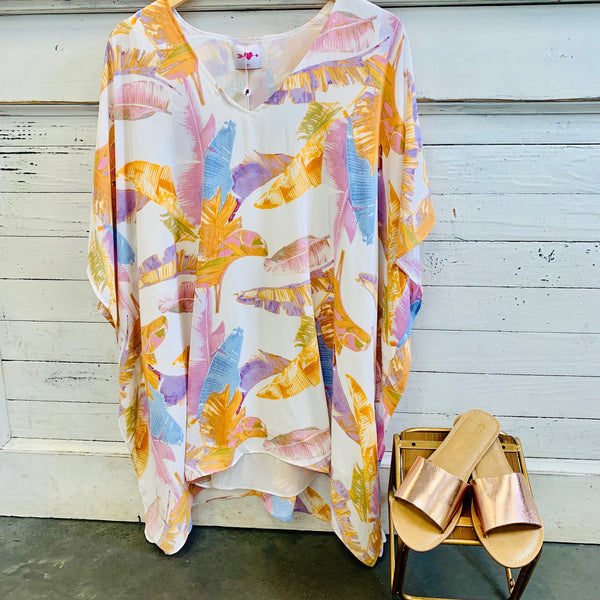 Pina Colada Rainbow Palm Dress