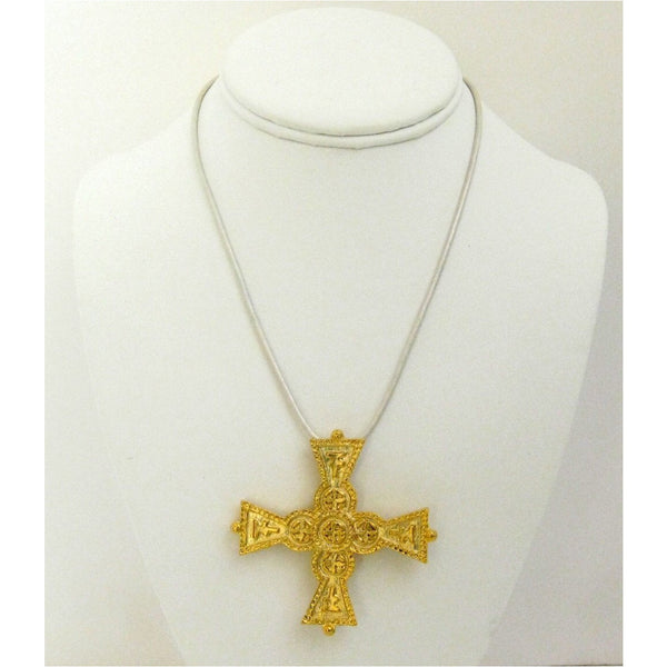 Handcast Gold Cross White Leather Necklace