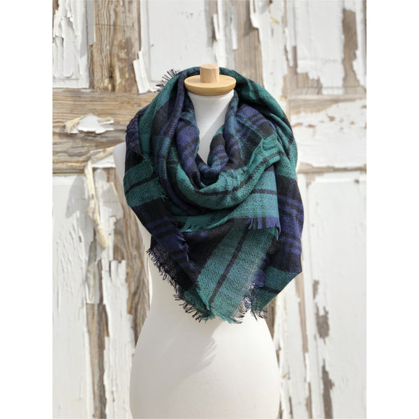 Oversized Plaid Blanket Scarves