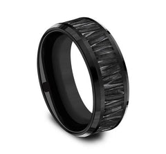 Ammara Stone Black Titanium 8mm Ring SKU CF368671BKT